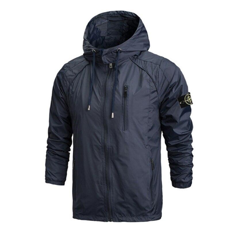 2019 nouveau Style de mode hommes grande taille Zip avec chapeau fermeture éclair poche pierre est terre veste à manches longues chaud Streetwear coupe-vent