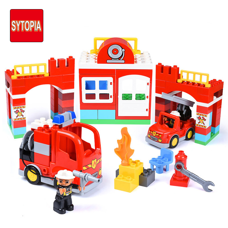 Sytopia Fire Station Fire Police Children Building Blocks Big Size Educational Toy For Baby Kid Gift Toy Compatible With Duploe sytopia fire station fire police children building blocks big size educational toy for baby kid gift toy compatible with duploe