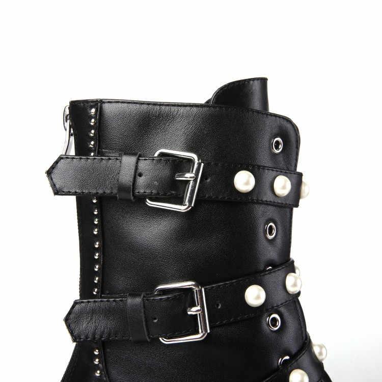 PXELENA Gerçek Hakiki Deri Martin Çizmeler Kadın Kristal Perçin Tıknaz Blok Med Topuklar Motosiklet Savaş Biker Şövalye Çizmeler Ayakkabı