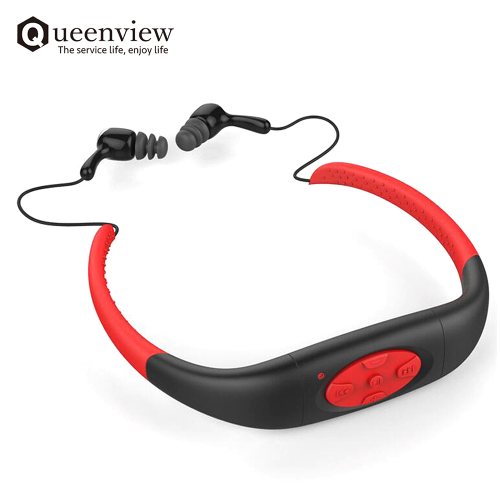New Queenview IPX8 Underwater Sports MP3 Music Player FM Radio Supported 4GB MP3 Waterproof Earphone Audio Headset for Swimming