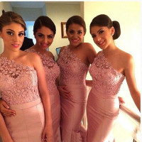 2015 Custom Made Lace Mermaid Bridesmaid Dresses One Shoulder Floor Length Long Pink Taffeta Wedding Party Blush Dresses