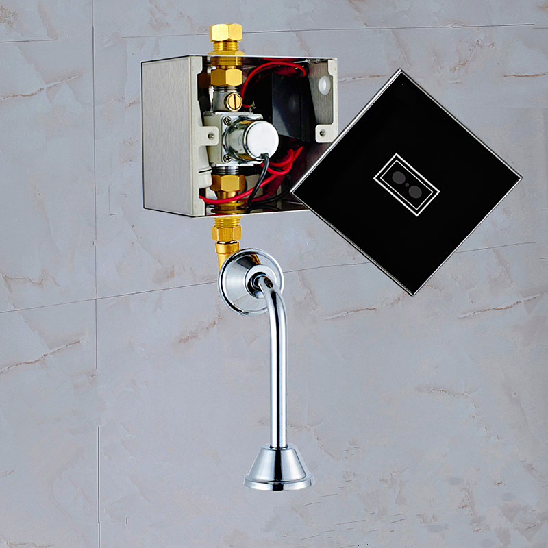Tempered glass panel AC DC Infrared Automatic induction urinal flusher Concealed top spud inlet water sensor