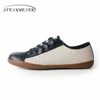 Genuine sheepskin leather women flat Shoes Lace up lady Shoes Flats Woman Moccasins Female Footwear sneakers casual shoes brown