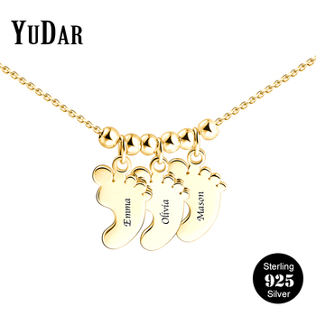 925 Sterling Silver Three Baby Feet Pendants Necklace Personalized Engrave Names Custom Gifts for Girls Family Woman YDS-1075