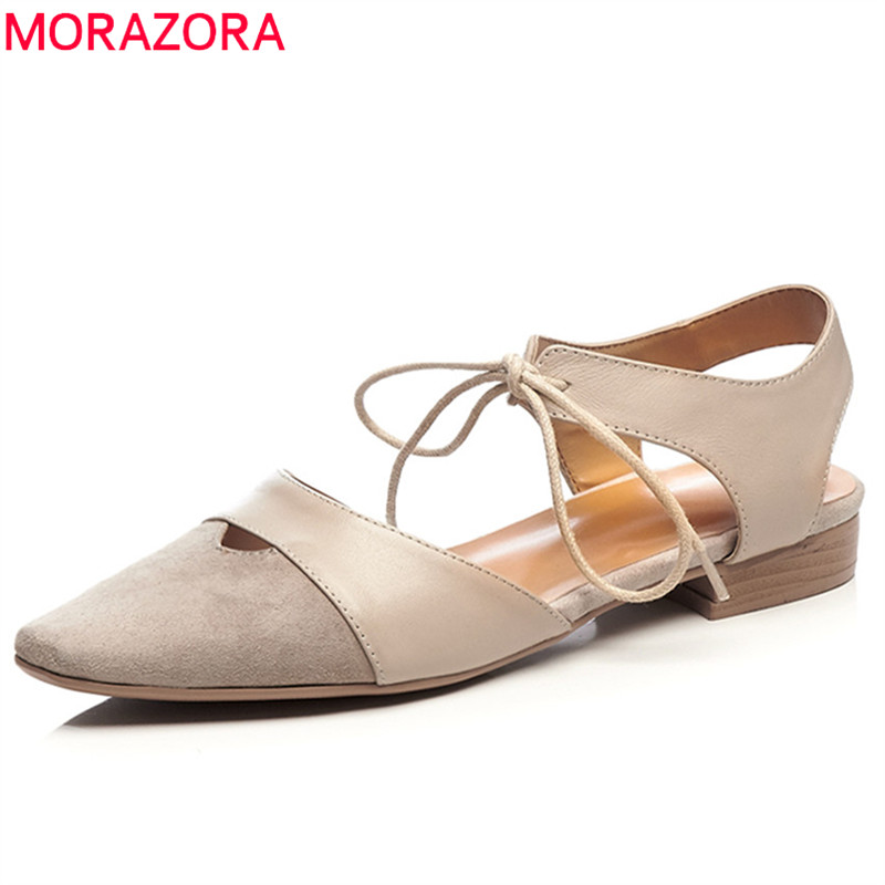 MORAZORA 2018 genuine leather new fashion shoes casual lace up women sandals pointed toe summer shoes elegant low heels shoes new women shoes women sandals squared heels summer 2017 slip on casual low heels genuine leather round toe roman black shoes