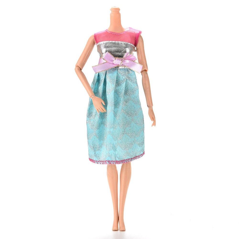 Fashion Summer Handmade Mini Doll Dress Pink Blue Patchwork Party ...
