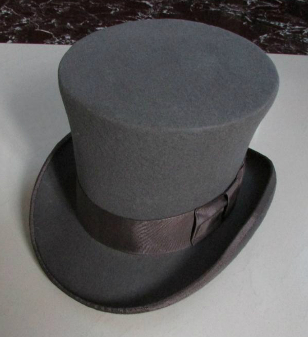 100% Wool Vintage Top Hat 18cm Tall Gray Grey Crown Hat Retro Victorian Magic Hat for Adult Women Men
