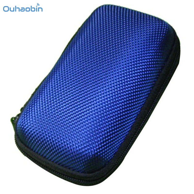 Ouhaobin Blue Portable Headphone Bag Long Round Hard Storage Case Bag for Earphones Headphones SD TF Cards Optional Sep14