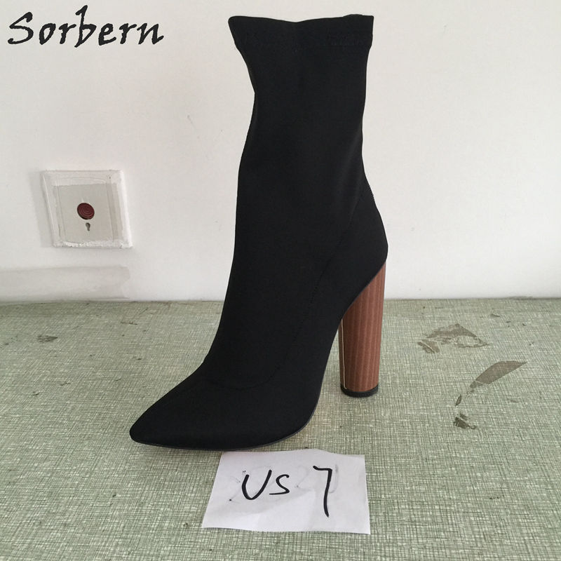 Us7 Stretched Fabric Pointed Toe Ankle High Boots Round Chunky Heels Black Elevator Shoes For Women Zipper Ladies Shoes 2018 New