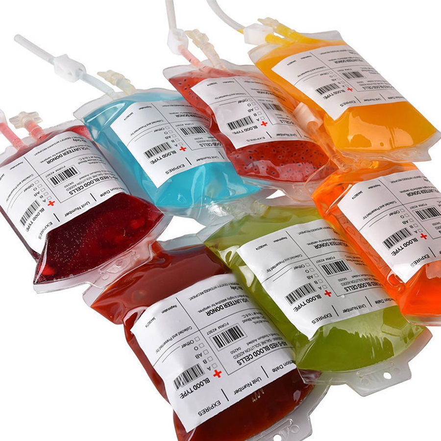 Happy Halloween Clear Food Grade PVC Drink Bag Vampire Diaries Cosplay Blood Bags Halloween Party Decoration Supplies 2pcs 350ml