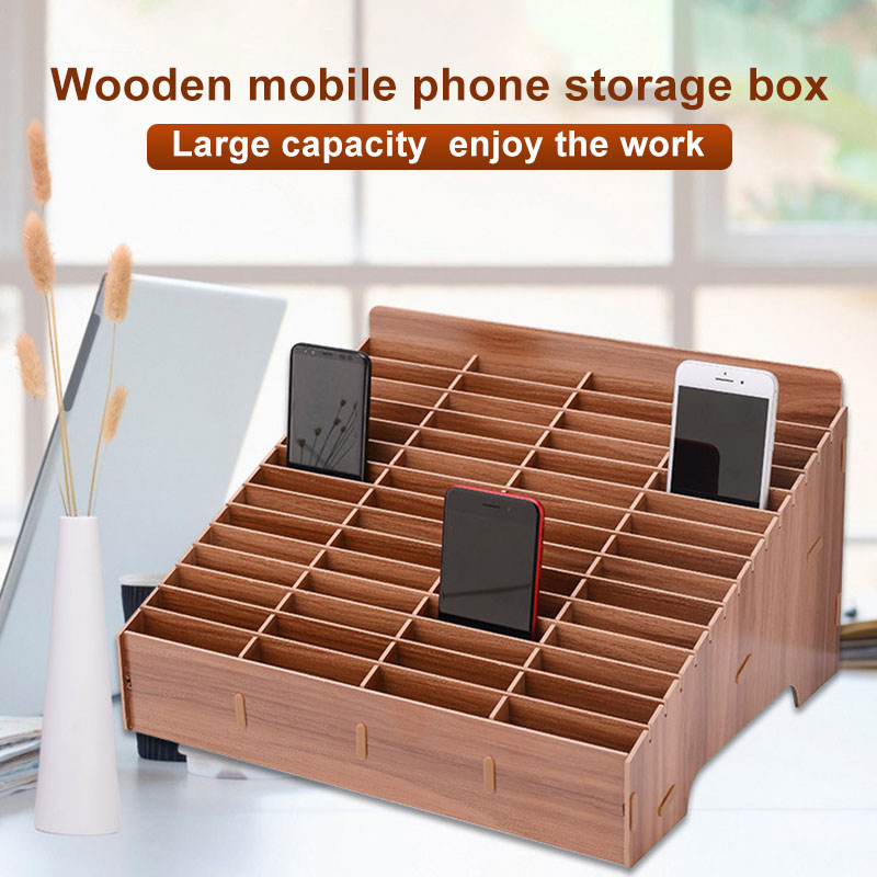Multi-grid Wooden Mobile Phone Storage Box Desktop Organizer For Office Classroom DC120