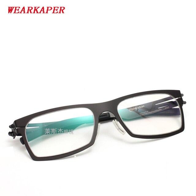 WEARKAPER กรอบแว่นตา IC เยอรมนีที่ไม่ซ้ำกันไม่มีสกรูออกแบบกรอบแว่นตา Ultra Light Ultra บางสายตาสั้นกรอบแว่นตา