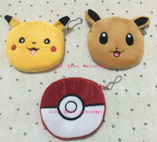 ALL NEW 3Designs, Ball , Pikachu 10CM HAND Plush Coin Purse Wallet Pouch Women Lady's Coin Bags Pouch Holder BAG Handbag(China)