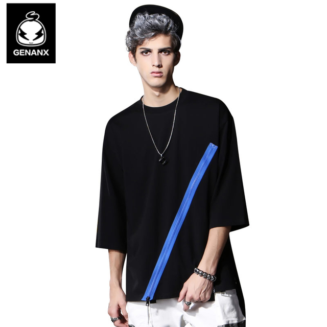 Genanx Brand Pure Cotton Black Joker Clothes Male Han Edition Tide Zipper Decoration 7 Minutes Of