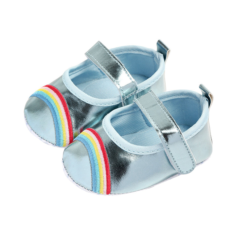 Baby Shoes Leather Rainbow PU Cute Cartoon Non-slip Soft Bottom Baby Girl Shoes 0-12M First Walker Fashion Princess Shoes