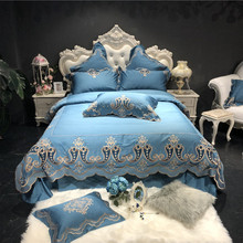 Luxury European Palace 120S Egyptian Cotton Gold Royal Embroidery Bedding Set Light Blue Duvet Cover Bed sheet/Linen Pillowcases