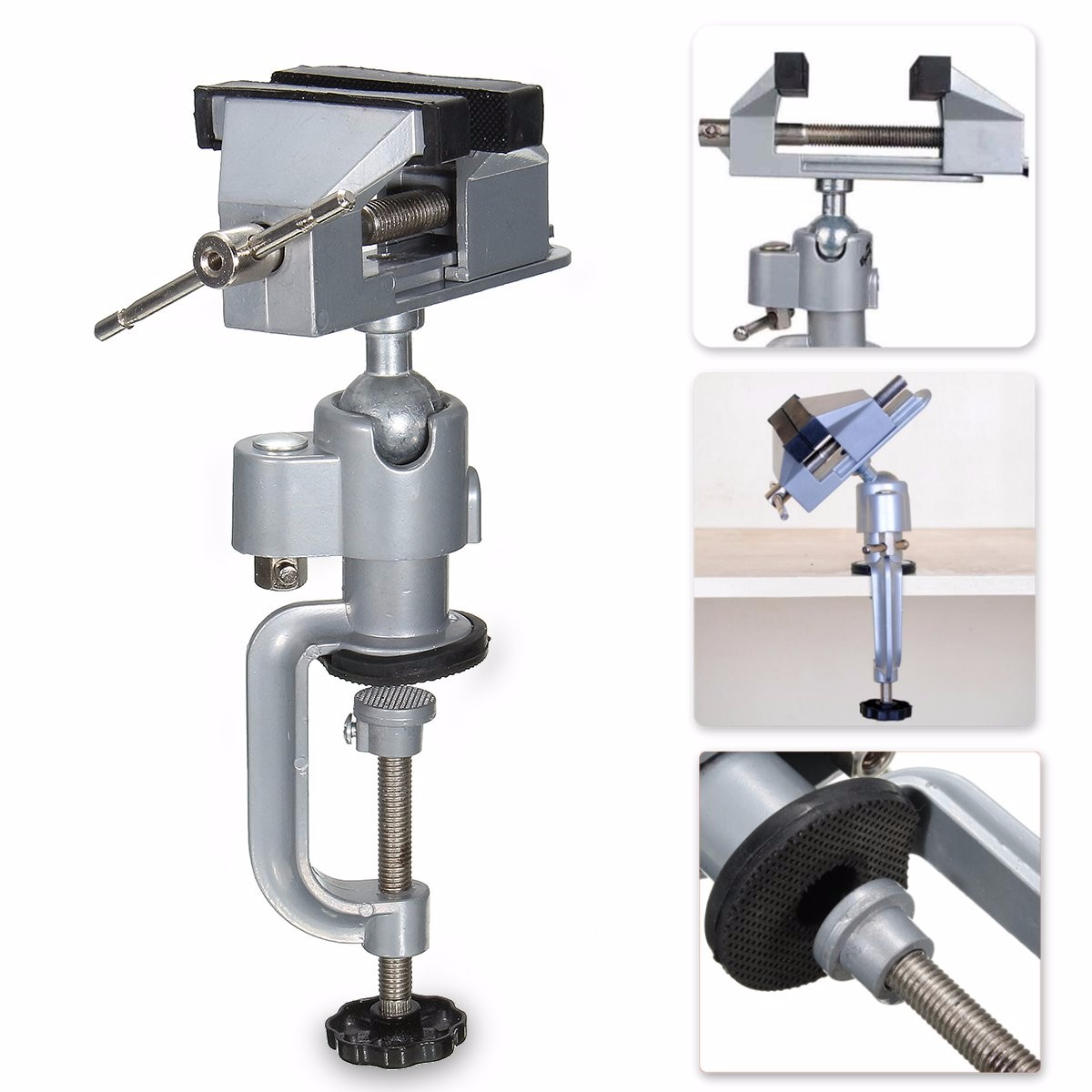 Aluminium Alloy 360 Degree Rotating Universal Vise Precise Mini Vise Clamp Multinational Functional 2 in 1 Table Vise Bench Vice free shipping aluminum alloy table vice mini bench vise diy tools swivel lock clamp vice craft jewelry hobby vise jaw width 40mm