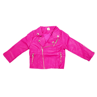 Autumn Girls Fashion Style Girl PU Jacket Children Leather Coats For Girl Outerwear Kids Girl Rose