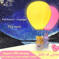 New charge remote control night light hot air balloon night light wall lamp chandelier remote control lights children gifts