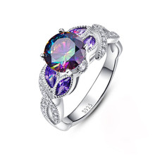 1 PC Colorful water droplets oval zircon ladies ring Copper silver plated fine jewelry Personality party copper