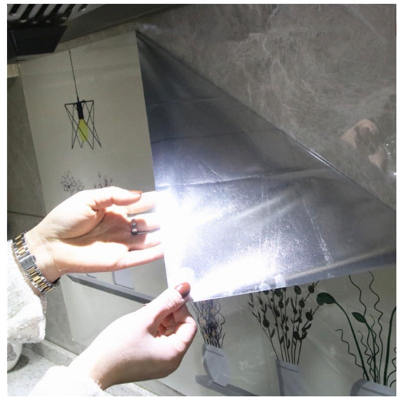 Самоклеющиеся обои для кухни из алюминиевой фольги, наклейки для кухонного шкафа, маслостойкие водонепроницаемые Мультяшные наклейки на стену