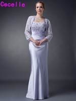 Lavender Long Sheath Floor Length Mother Of the Bride Dresses With Jackets Beaded Straps Stretch Satin Mother's Formal Dress