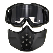 Riding Detachable Modular Face Mask Shield Goggles For Motorcycle Helmet Open Face