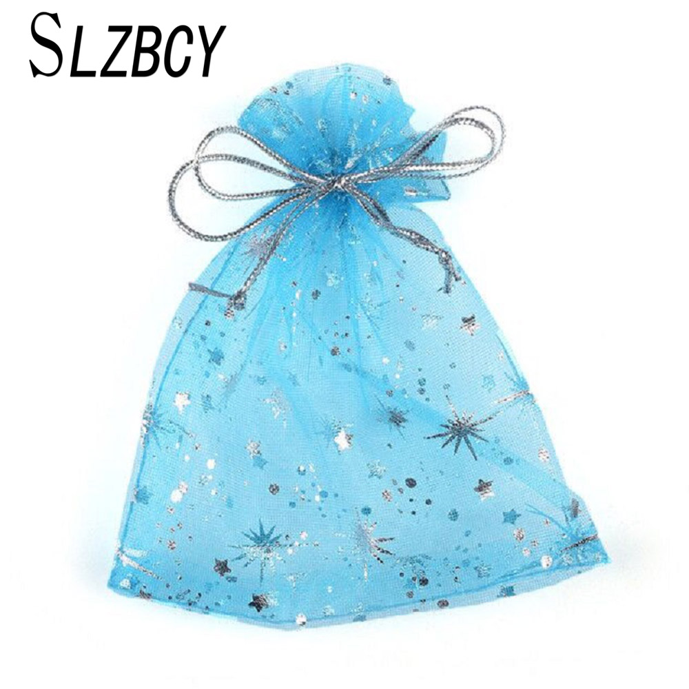 SLZBCY 50pcs/lot 12*9 Cm Blue Star Drawable Organza Bags Jewelry Packaging Pouches Christmas Gift Bag Wedding Party Decoration