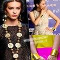 Imagen cabeza de Mississippi monedas cadena de oro ronda de medallas de metal collar largo catwalk marca colgante jwelry