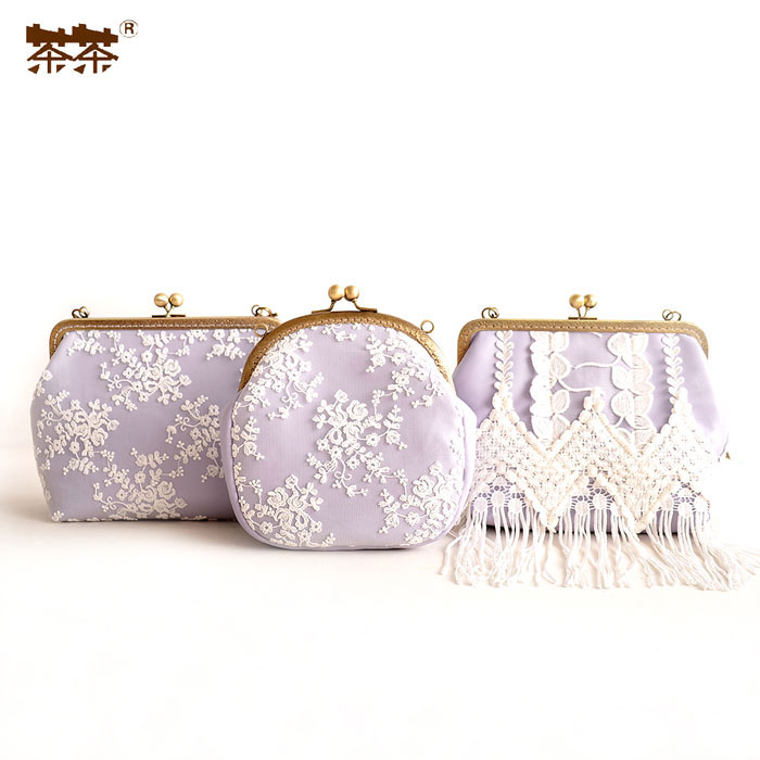ФОТО Princess sweet lolita  hand bag fragrant taro purple sweet lady lace Crossbody retro fringed female bag BAG42