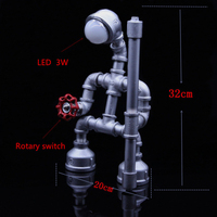 American Creative Industrial Style Retro Bedside Bar Desk Decoration Water Pipe Robot Decorative Table Lamp 3W AC90-260V E27