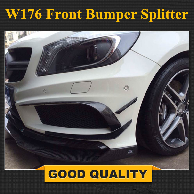 <font><b>Mercedes</b></font> <font><b>W176</b></font> Front Bumper Splitter Lip Carbon Fiber Canards Spoiler For <font><b>Benz</b></font> A Class <font><b>W176</b></font> A160 A180 A220 <font><b>A200</b></font> With New Package image