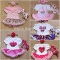 Novos conjuntos de roupas infantis bebê dos desenhos animados de natal papai noel appliqued menina macacão dress + + headband do 3 pcs define