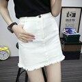 2017 Nuevas Mujeres Ocasionales Saias Verano Más El Tamaño XL de Los Pantalones Vaqueros Feminina faldas para Mujer Mini Denim Lápiz Faldas de Cintura Alta Blanco faldas