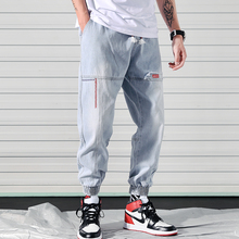Men jeans jogger pants 2020 new arrival spring and autumn fashion pockets male ankle-length pants blue black Korean style n02 men pants thin 2019 new arrival spring and autumn linen cotton casual male ankle length pants black gray khaki korean style n29