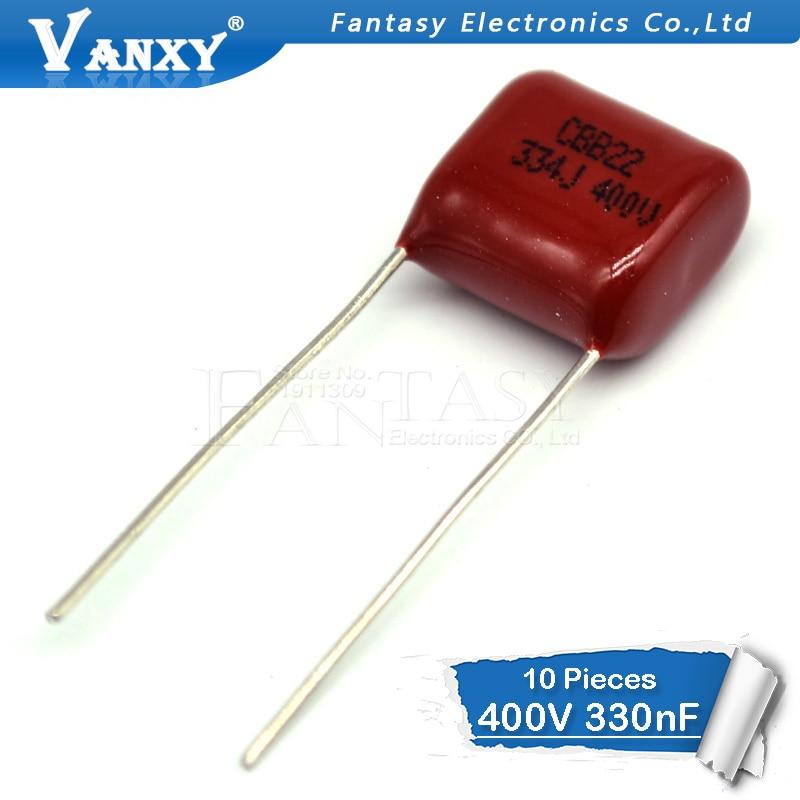 10PCS 400V334J 0.33UF Pitch 10mm 400V 330NF 334 CBB Polypropylene Film Capacitor