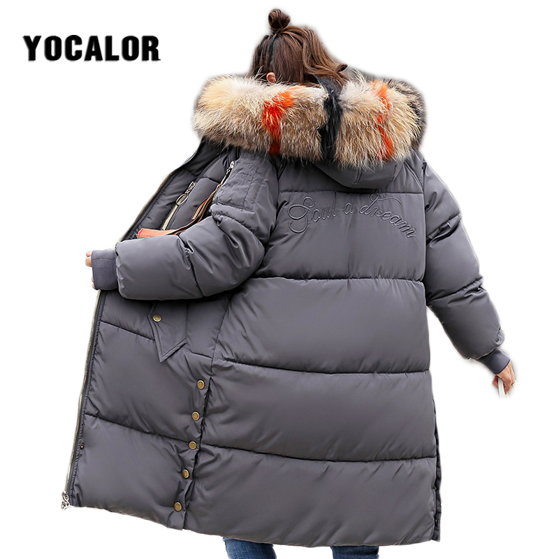 2018 Large Sizes Winter Female Long Coat Warm Quilted Jacket Women Thick   Parka   Outerwear For Snow Wear Raccoon Fur Hood Puffer
