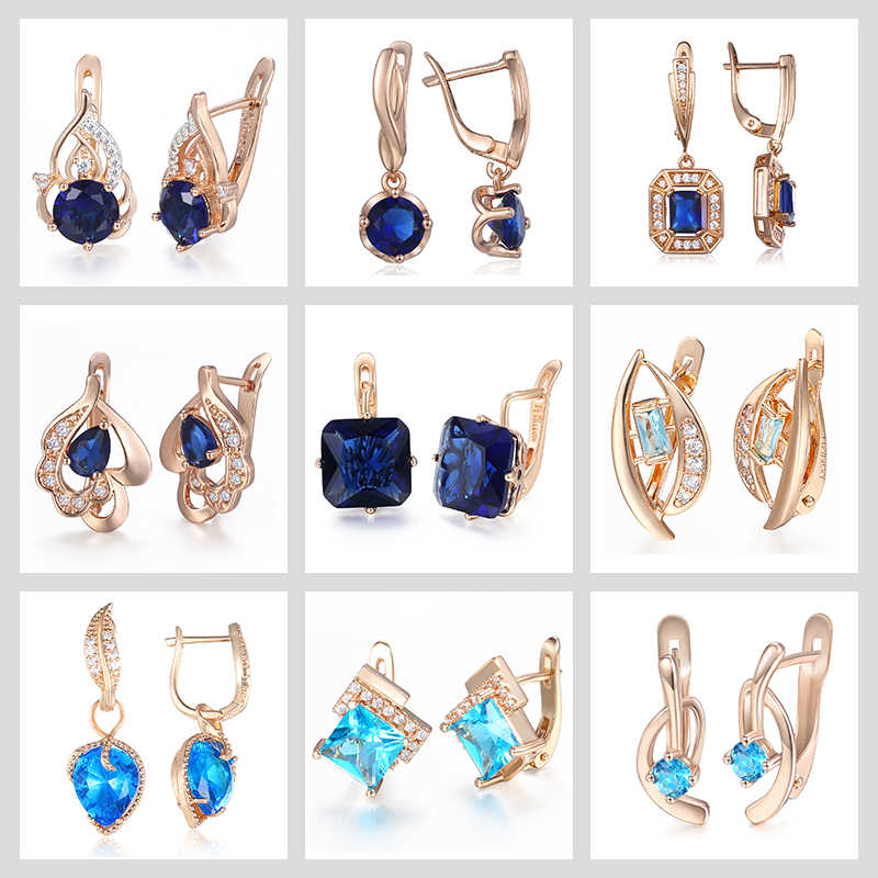 1efe76fcf ... Blue Stone Stud Earrings For Women 585 Rose Gold Filled Round Leaf  Shaped Womens Stud Earring ...