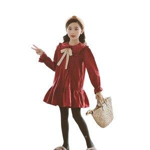 Image 4 - Girls Dress 2020 Fall New Children Cotton Dress Baby Princess Dress Cotton Toddler Dresses for Girls Temperament Bow,#5314