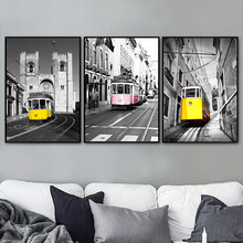 Lisboa Cathedral 28 Tramcar Vintage Wall Art Canvas Painting Nordic Posters And Prints Wall Pictures For Living Room Home Decor(China)