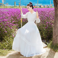 YOSIMI White Fairy Evening Party Dress 2019 Summer Maxi Chiffon Long Women Dress Elegant Lace Hooded Red Vestidos Ankle Length