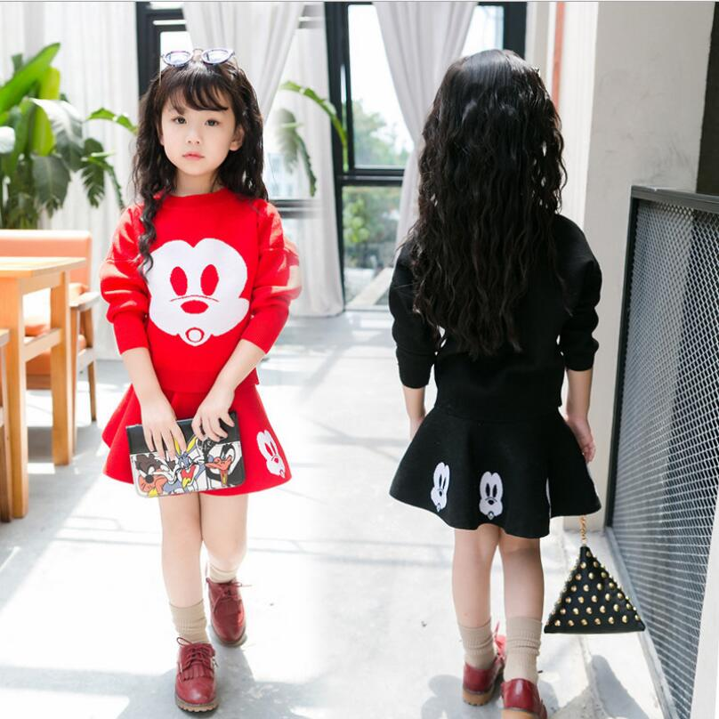 ФОТО Autumn Clothing Sets Anime Long Sleeve O-neck Kids Knitted Pullover Sweater Skirt Girls Tracksuit Novelty Abbigliamento Bambine