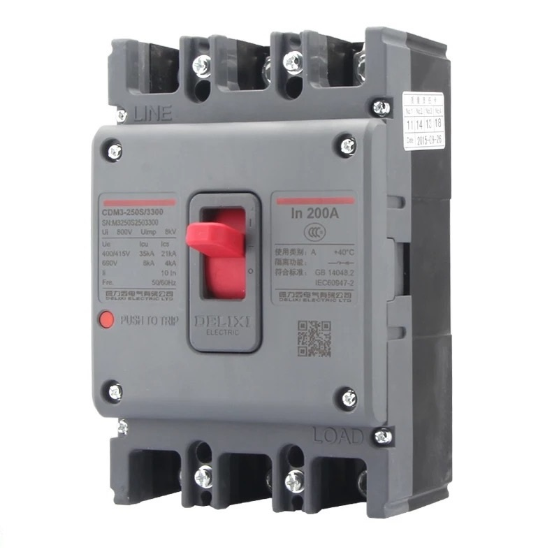 DELIXI CDM3 200A Air switch, circuit breaker leakage circuit protector air switch residual current circuit breaker dz15le 100 490 100a