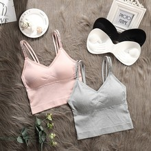 New Women Letter Sling Tank Top Removable Padded Camisole Sexy Seamless Summer Vest