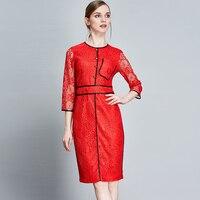Elegant Dresses New 2017 Summer Women Three Quarter Sleeve Hollow Red / White Knee Length Brief Slim Fashion Lace Dress