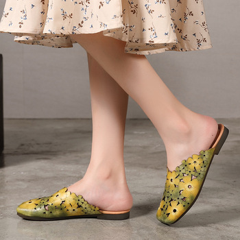 Johnature Genuine Leather Slides Floral Summer Outside Slippers Flat With Totem Simple Comfortable Hollow Women Shoes 4