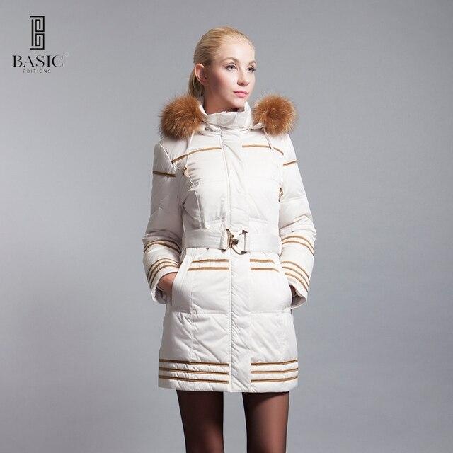 BASIC-EDITIONS 2016 зима slim fit вниз парка с енота меховой капюшон и пояс - 13w-63