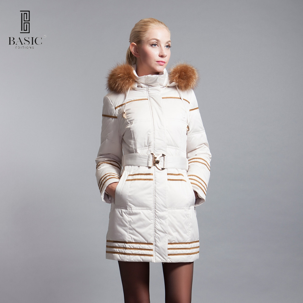 BASIC-EDITIONS winter slim fit down parka with raccoon fur hood and belt - 13w-63 basic editions fall winter brown metallic silk fabric cotton coat with rabbit fur collar with belt covered button 7001d11