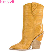 Strange Style High Heel boots Pointy toe Punk long booties women Wedge Wood grain Slip on snake pattern Ankle Boots for Women
