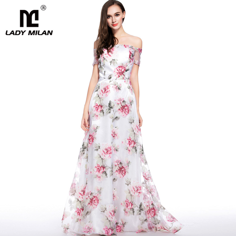 New Arrival 2018 Womens Sexy Off the Shoulder Floral Printed A Line Long Fashion Organza Party Prom Casual Dresses